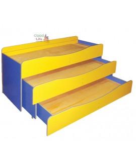 Детская трехъярусная выдвижная кровать 140х60