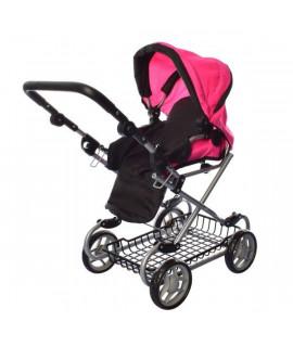 Коляска для кукол Melogo 9346W черно-розовая