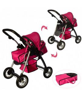 Коляска для кукол Melogo 9388 розовая-черная