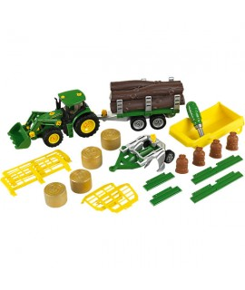 Маленький трактор John Deere с прицепом и плугом Klein 3907