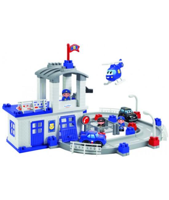 Конструктор ecoiffier Полицейская станция с часовой башней и вертолетом 3025