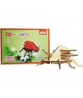 Конструктор 3D деревянный Strateg Божья коровка