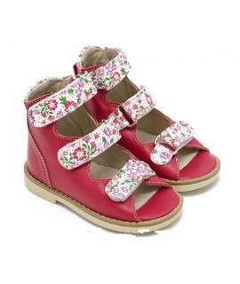Ортопедические босоножки детские Берегиня 0906 малиновый цветы