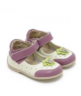 Туфли детские Берегиня 2611 белые с сиреневым