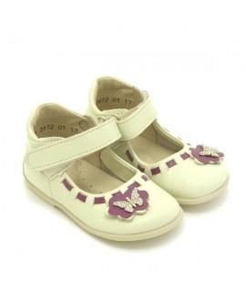 Туфли детские Берегиня 2612 молочные с фиолетовым