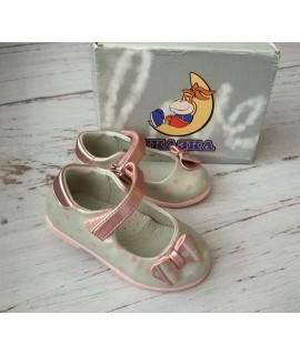 Туфли детские Сказка R103 S серый с розовым