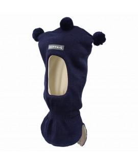 Вязанная детская шапка-шлем COCO 2 Huppa темно-синий