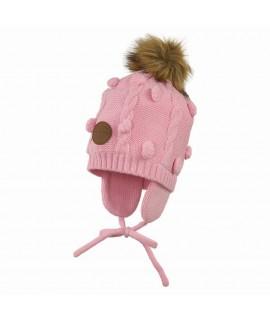 Вязанная детская шапка MACY Huppa 70013 розовая