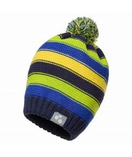Вязанная детская шапка полосатая NEON Huppa синяя