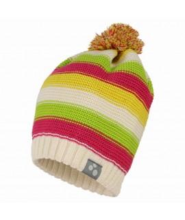 Вязанная детская шапка полосатая NEON Huppa белая