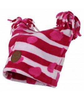 Флисовая детская двухслойная шапка WILLIAM Huppa фуксия pattern