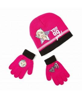 Комплект шапка и перчатки Барби Disney Arditex BR9887 розовый