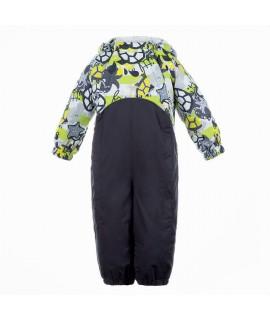 Комбинезон детский демисезонный GOLDEN Huppa 90147 лайм с принтом/тёмно-серый