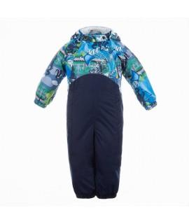 Комбинезон детский демисезонный GOLDEN Huppa 90286 темно-синий с принтом/темно-синий