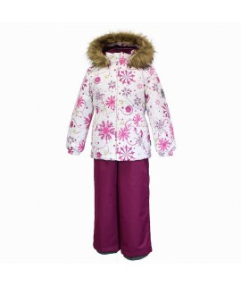 Комплект зимний детский WONDER Huppa 94220 бордовый с рисунком