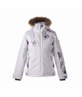 Зимняя куртка детская CELIA Huppa 04220 белая с принтом