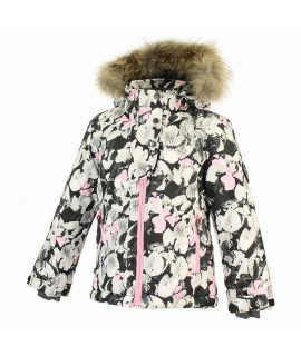 Термокуртка детская зимняя KRISTIN Huppa 81620 белая с рисунком