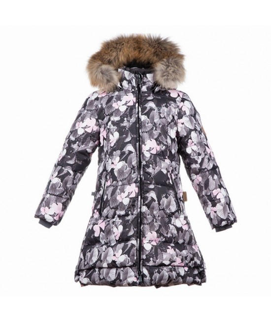 Пальто-пуховик детское зимнее PARISH Huppa 81020 белый с рисунком