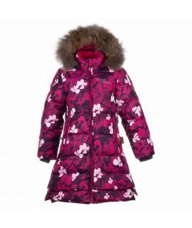 Пальто-пуховик детское зимнее PARISH Huppa 81063 фуксия с рисунком