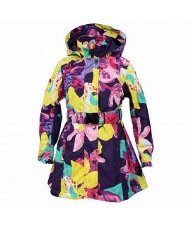 Пальто детское демисезонное LEANDRA HUPPA фиолетовое с рисунком