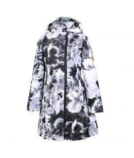 Пальто детское демисезонное LUISA Huppa 91109 черное с принтом