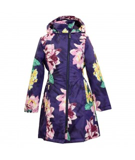 Пальто детское демисезонное LUISA Huppa 91373 фиолетовый с принтом