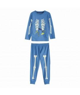 Пижама с принтом хеллоуин лонгслив Lupilu голубая