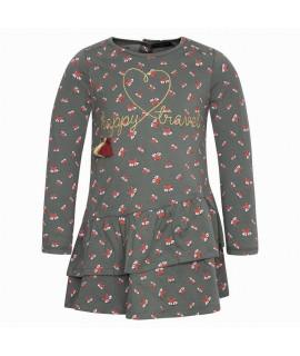 Платье трикотажное Лисички Canada House S1BA4111-703VC хаки