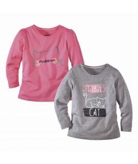 Комплект регланов для девочки I love cat (2 шт.) Lupilu