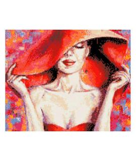 Алмазная вышивка Леди в красной шляпе Идейка AM1002