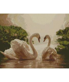 Алмазная вышивка Пара лебедей 50х40 см Идейка АМ6135