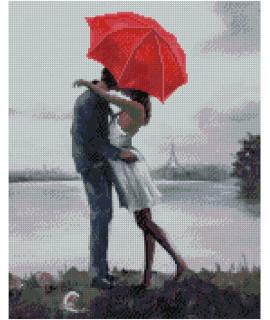 Алмазная вышивка Влюбленная пара под зонтиком Strateg FA10563