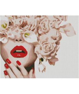 Алмазная вышивка Леди с цветами Strateg FA40791