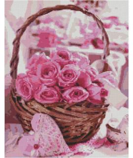 Алмазная вышивка Корзина с розовыми розами Strateg FA40799