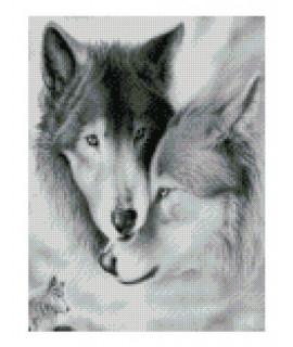 Алмазная вышивка Волки черный белый Strateg HX209